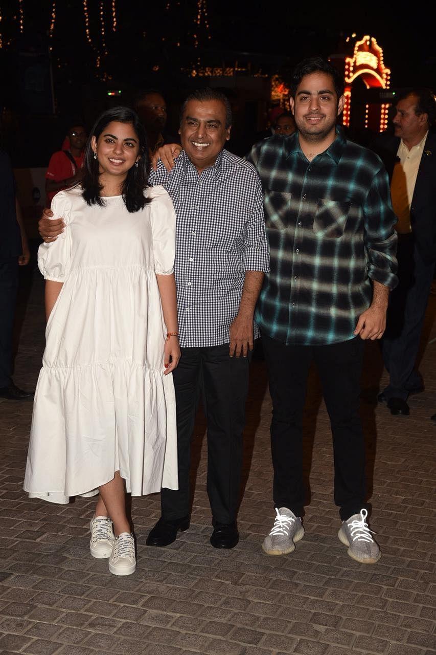 Isha, Mukesh and Akash Ambani