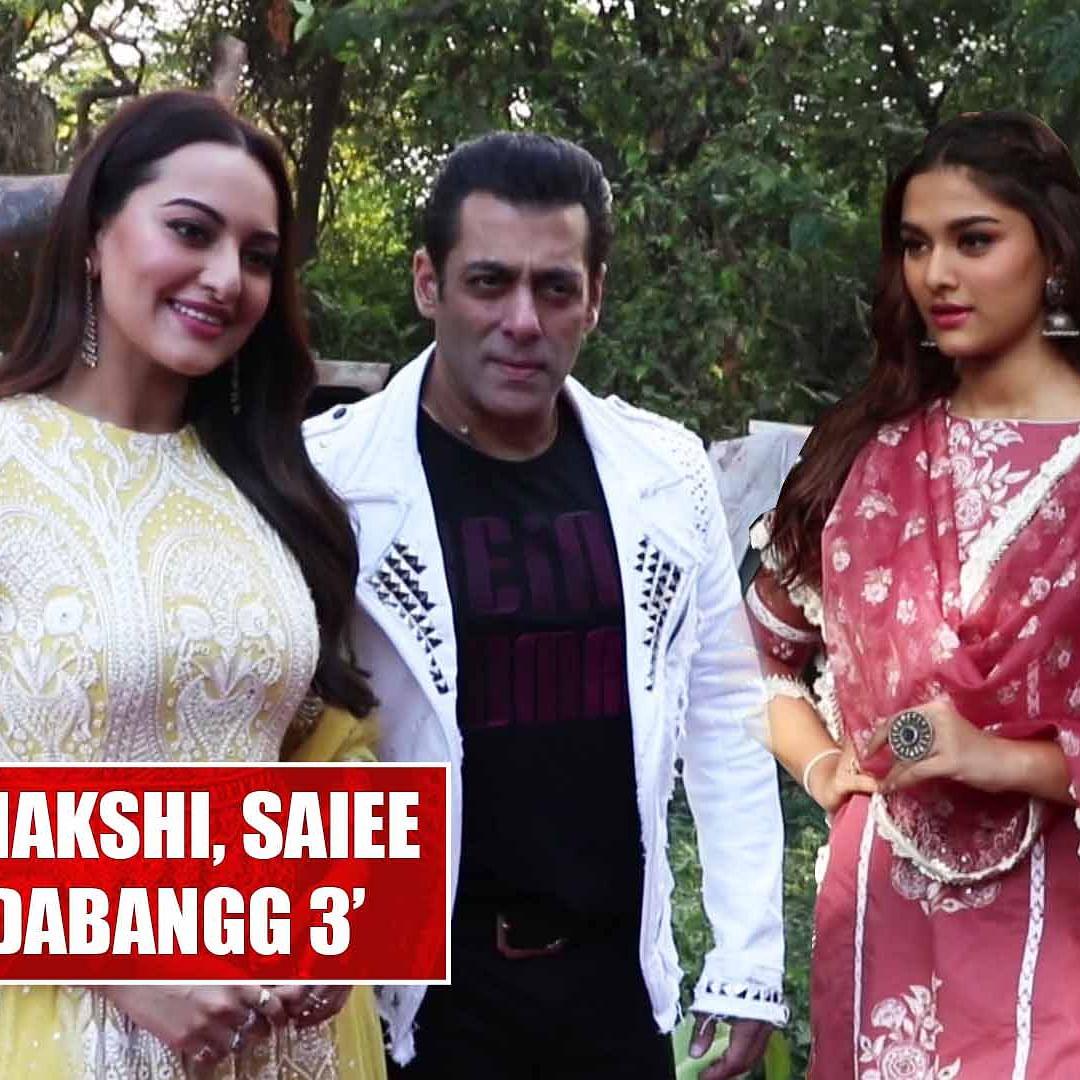 Salman Khan, Sonakshi Sinha And Saiee Manjrekar promote their upcoming film 'Dabangg 3'