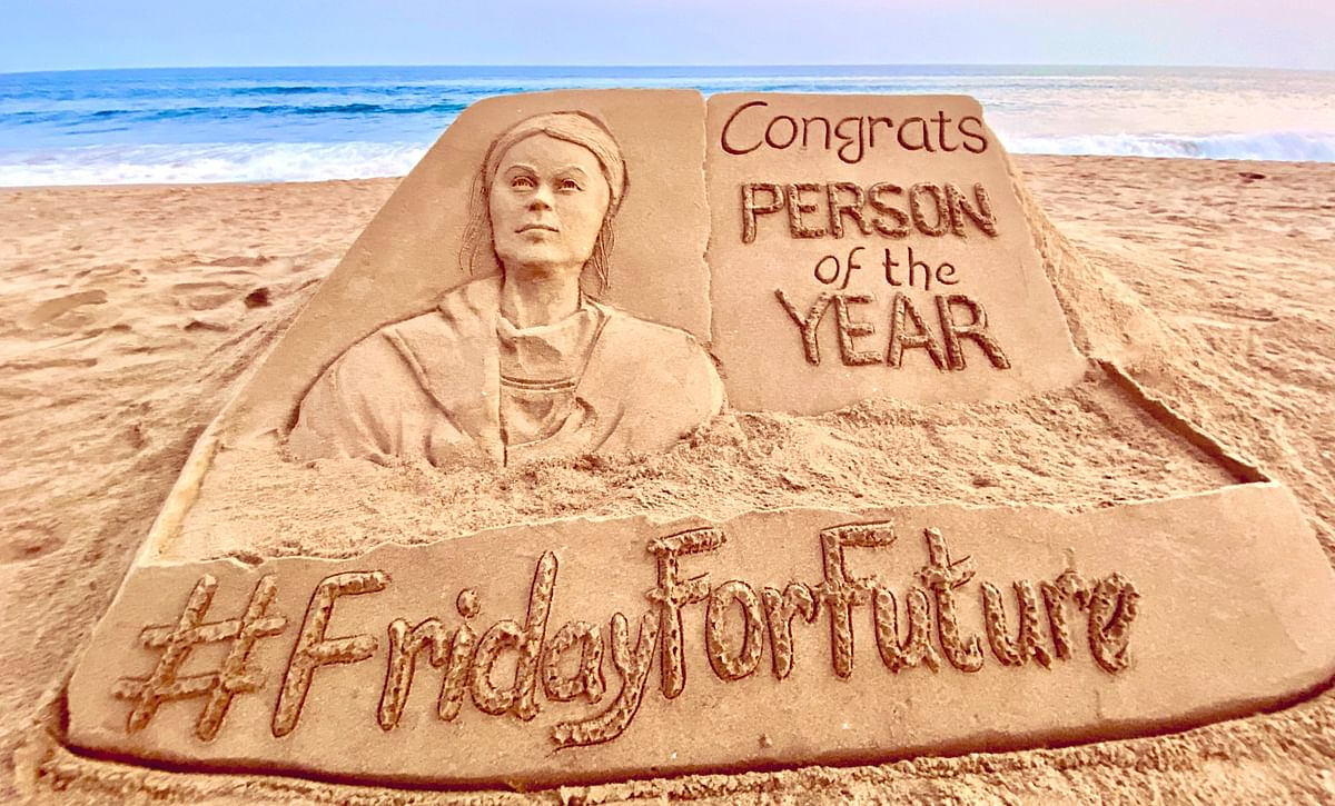 Sand artist Sudarshan Pattnaik congratulates activist Greta Thunberg with new sculpture