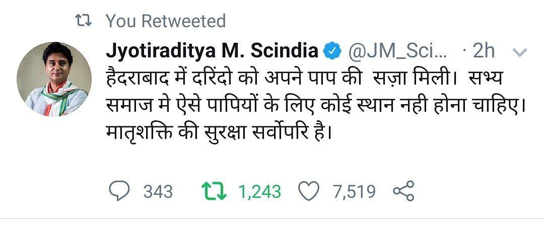 Maharaja silenced? Who made Jyotiraditya Scindia delete his tweet on Hyderabad encounter