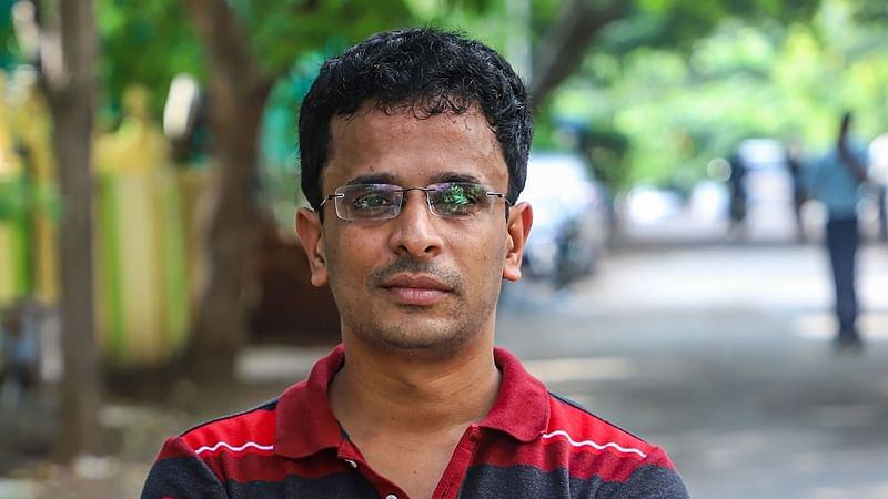 Chennai: Chennai based techie Shanmuga Subramanian who helped US Space agency NASA to trace a piece of Vikram, the Chandrayaan-2 mission's crashed lander, on Moon's surface, in Chennai, Tuesday, Dec. 3, 2019. (PTI Photo/R Senthil Kumar) (PTI12_3_2019_000195B) *** Local Caption ***