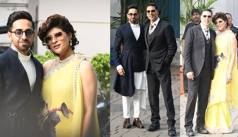 In pics: Akshay Kumar, Ayushmann Khurana and wife Tahira Kashyap arrive in Mumbai after 66th National Awards