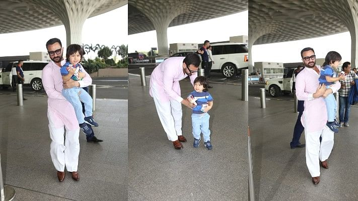 Don't cry Taimur, daddy's here! Saif pacifying his son at the airport is all things cute