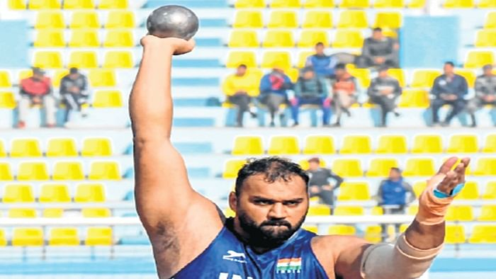 India's Tajinderpal Singh Toor competes in the men's shot put  during the 13th South Asian Games (SAG) in Kathmandu on Friday