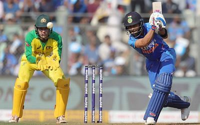 Virat Kohli bats  during the 1st One day International match between India and Australia held at the Wankhede Stadium