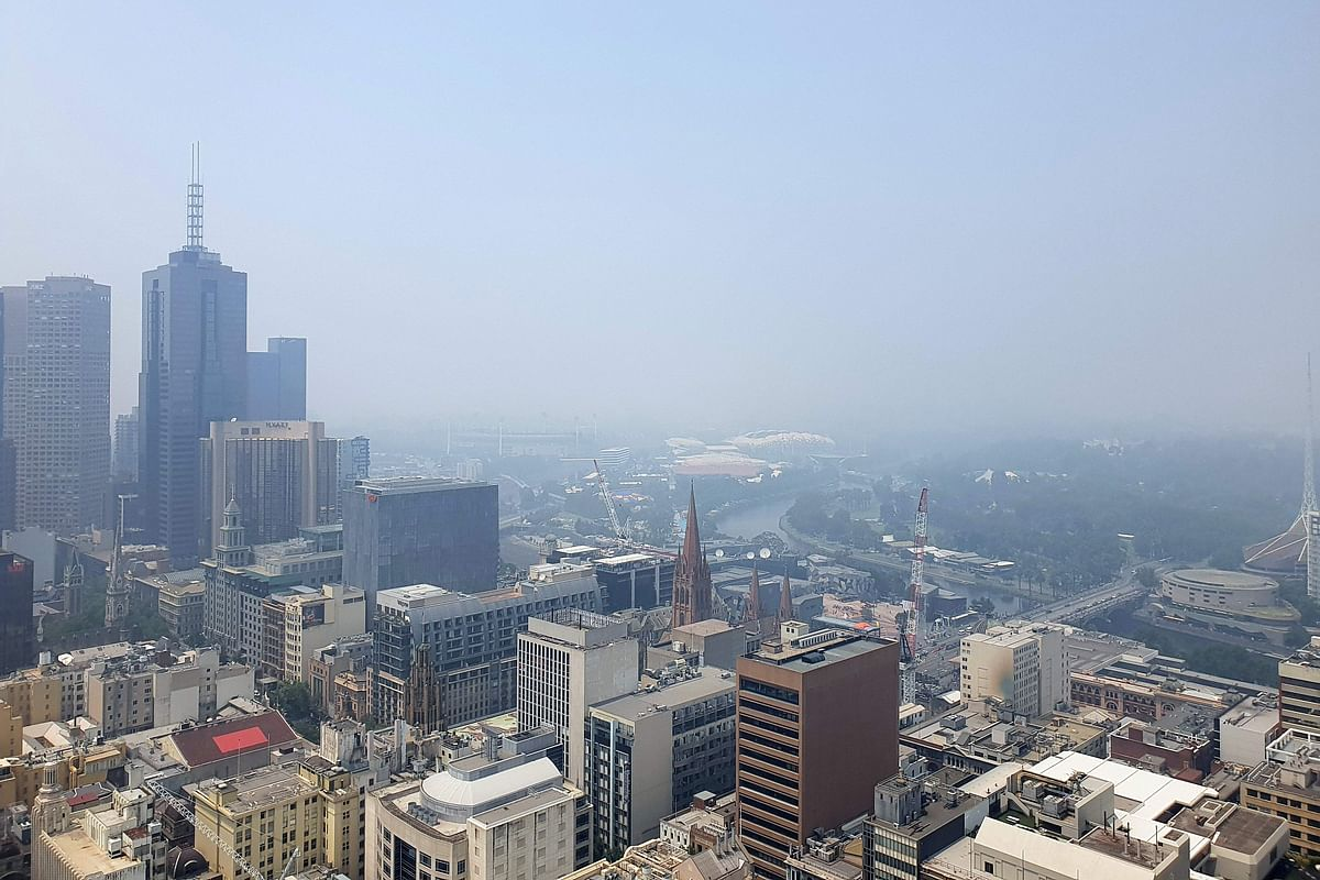 Smoke from the Victoria bushfire fills the sky over Melbourne city on January 14, 2020.