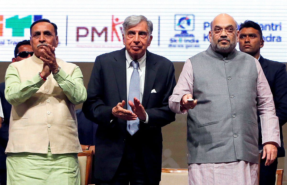 Union Home Minister Amit Shah, Tata Group patriarch Ratan Tata, and Gujarat Chief Minister Vijay Rupani during the foundation stone laying ceremony of Indian Institute of Skills in Gandhinagar on Wednesday.