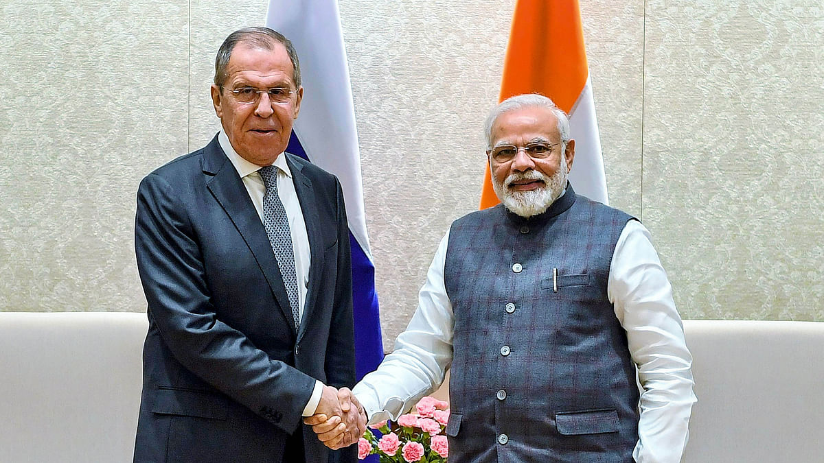 PM Narendra Modi shakes hands with Minister of Foreign Affairs of the Russian Federation Sergey Lavrov during a meeting in New Delhi on Wednesday.