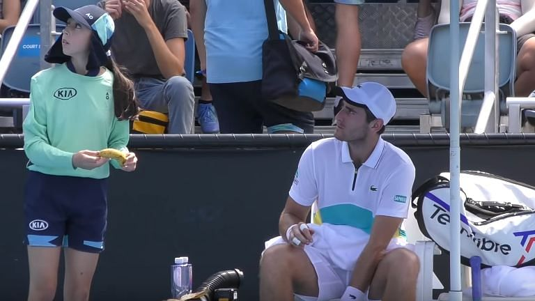 Elliot Benchetrit asked a ball-girl to peel off a banana's skin for him during the qualifying rounds of Australia Open.