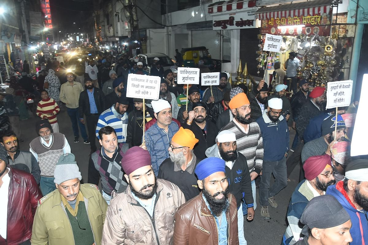 Ujjain: Sikhs take out protest rally against Nankana Sahib incident