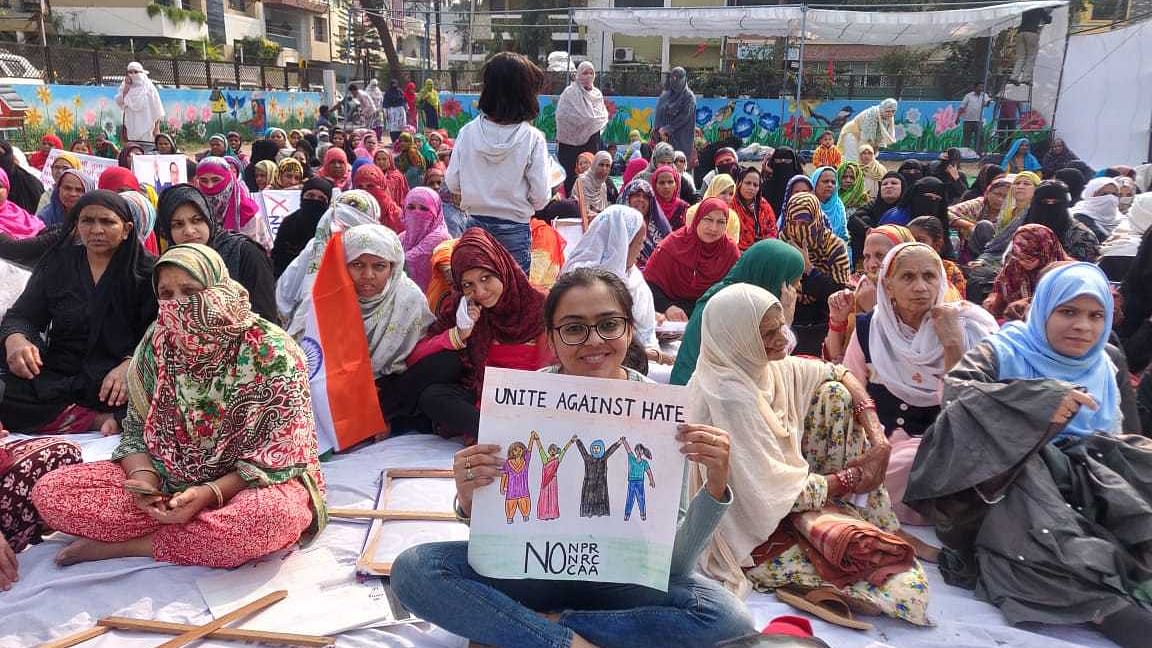 Hundreds of protestors gather at Manik Bagh to protest against CAA and NRC.
