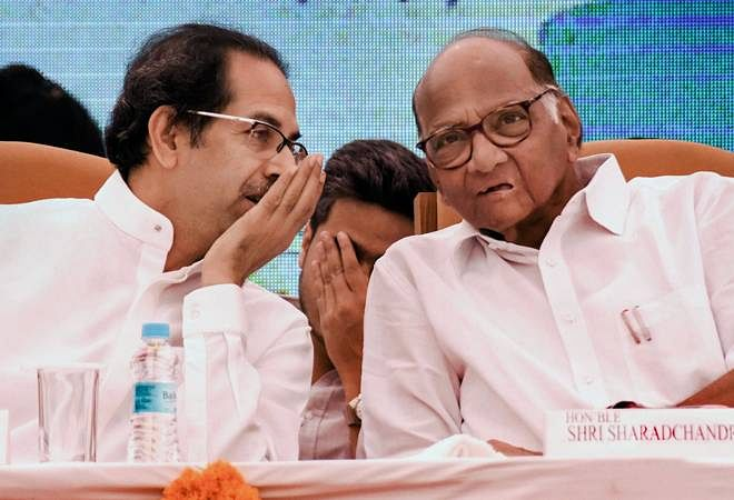 Maharashtra chief minister Udhav Thackeray (left) with NCP head Sharad Pawar.