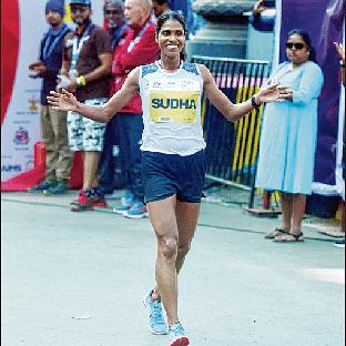TATA Mumbai Marathon: Sudha completes treble despite underwhelming show