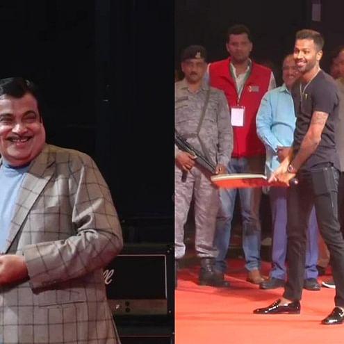 In pics: Nitin Gadkari and Devendra Fadnavis showoff their cricket skills in front of Hardik Pandya