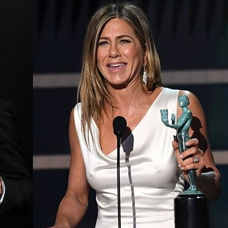 Brad Pitt drops everything backstage to watch Jennifer Aniston's speech at SAG Awards
