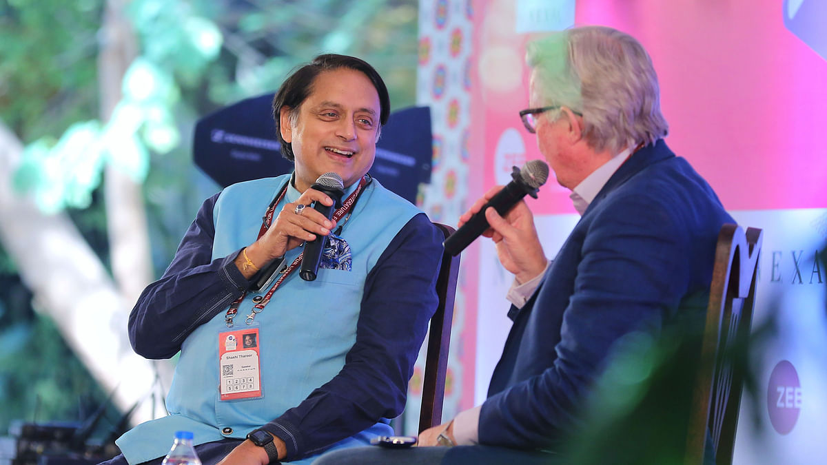 Jaipur: Author and Congress MP Shashi Tharoor (L) speaks during a session at the Jaipur Literature Festival in Jaipur, Friday, Jan. 24, 2020.