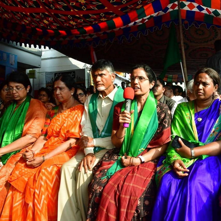 N Chandrababu Naidu's wife donates gold bangles to support Amaravati farmers