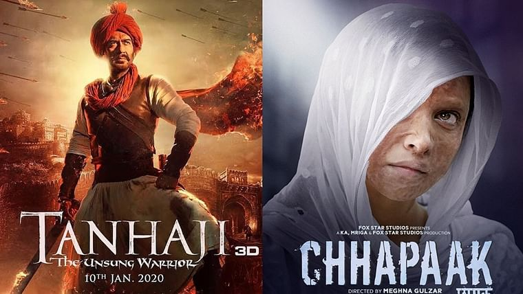 'Tanhaji' unstoppable with Rs 75.6 cr on Day 4 at BO, while 'Chhapaak' mints Rs 21.3 cr