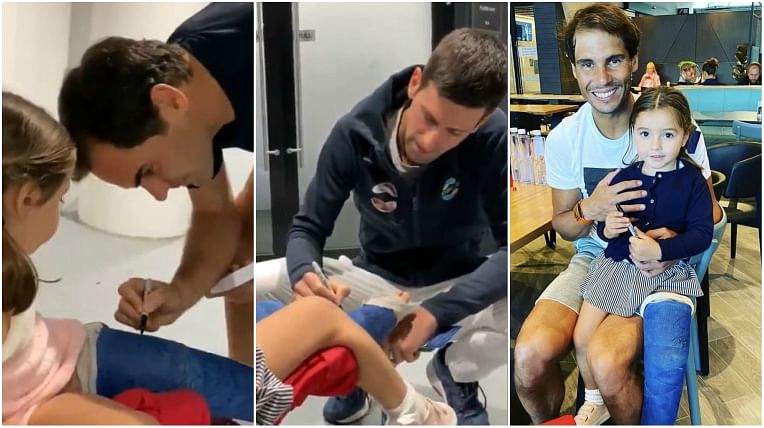 Watch: Roger Federer, Novak Djokovic and Rafael Nadal sign young girl's leg cast in sweet gesture