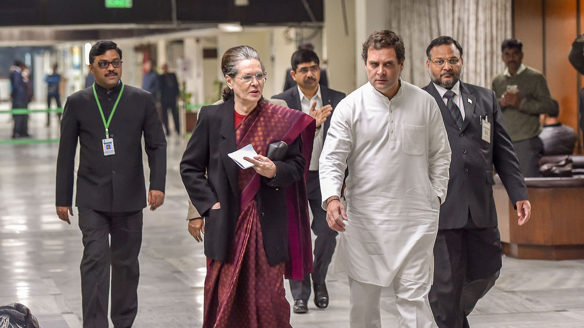 Congress President Sonia Gandhi along with party leader Rahul Gandhi