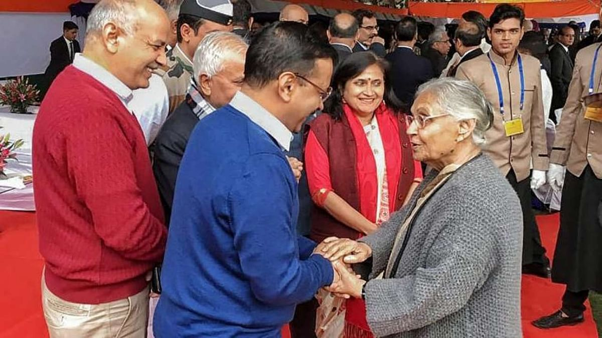 Delhi CM Arvind Kejriwal pictured with late Sheila Dikshit