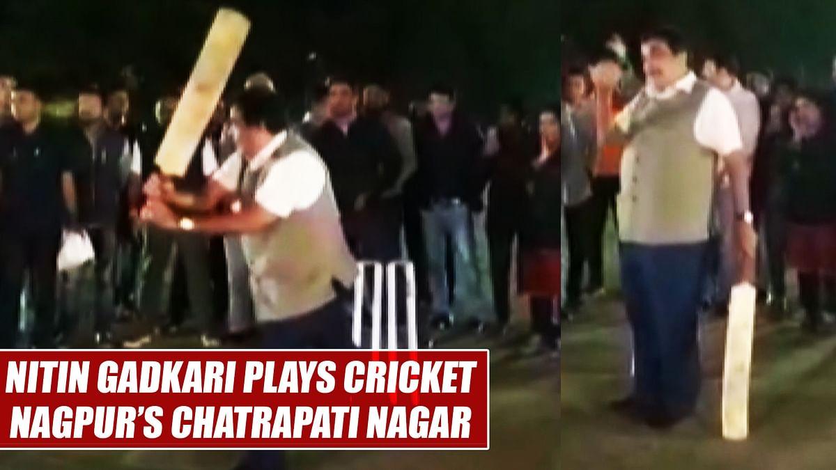 Watch: Union Minister Nitin Gadkari plays cricket in Nagpur's Chatrapati Nagar