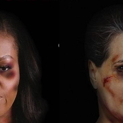Michelle Obama to Sonia Gandhi: Italian artist highlights gender violence by using pictures of bruised women leaders