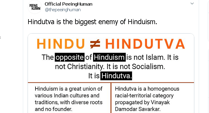 Official Peeing Human panned for comparing Hindutva to Christianity and Islam