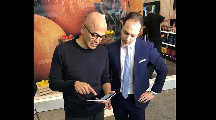 Microsoft CEO Satya Nadella spotted using new foldable Surface Duo before its launch