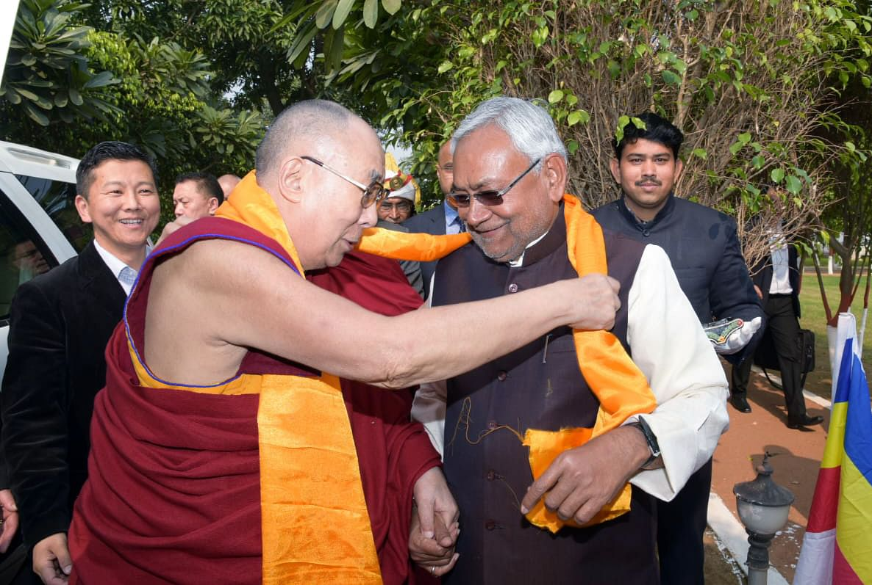 Dalai Lama visits Bihar CM Nitish Kumar's residence, prays for peace