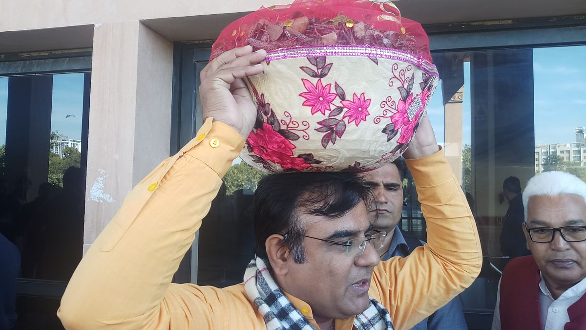 Rajasthan: BJP MLA Bihari Bishnoi brings basket full of dead locusts to Assembly, alleges govt apathy towards farmers