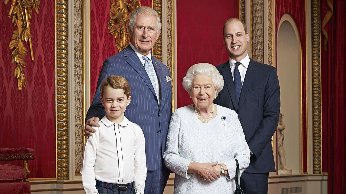 Britain's Queen Elizabeth with 3 heirs to throne