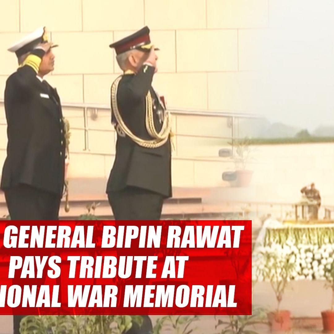 CDS General Bipin Rawat pays tribute at National War Memorial