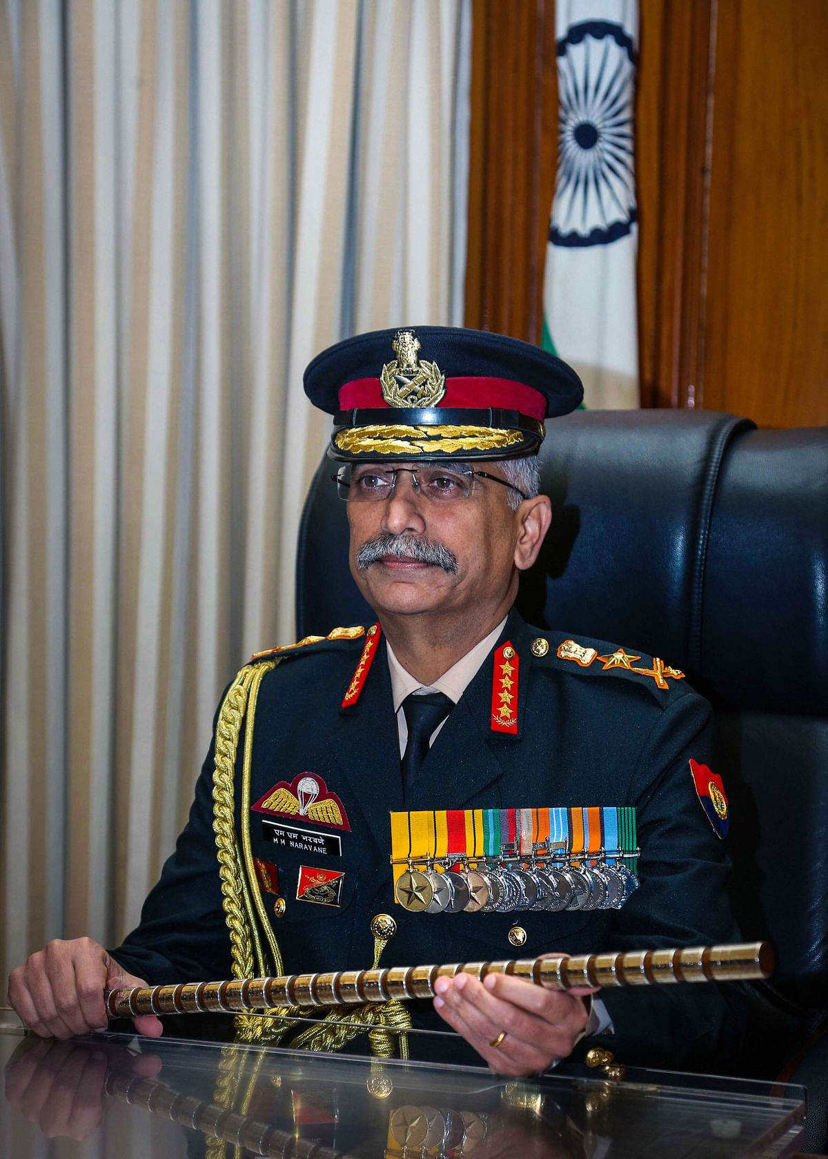 General Manoj Mukund Naravane takes charge as Chief of Army Staff in the presence of Chief of Defence Staff Gen Bipin Rawat (unseen) in New Delhi, Tuesday, Dec. 31, 2019.