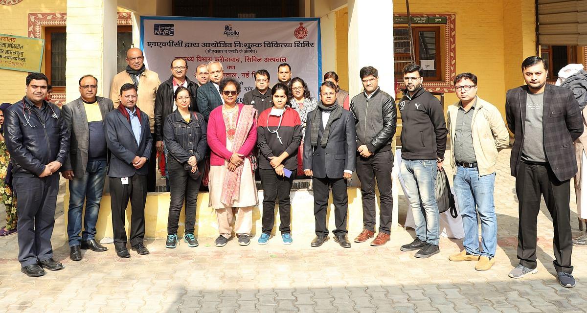 NHPC, Apollo Hospital organise free medical camp in Faridabad