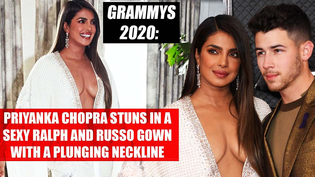 Grammys 2020: Priyanka Chopra stuns in a sexy Ralph and Russo gown with a plunging neckline