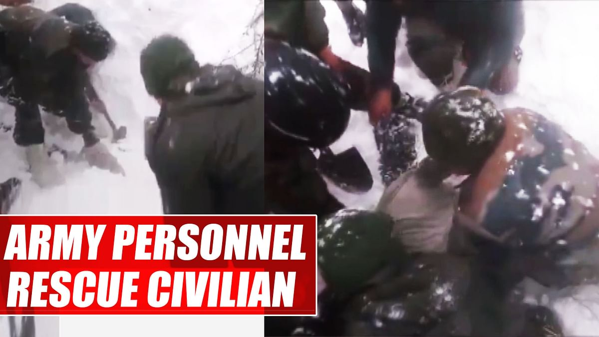 Jammu & Kashmir: Indian Army personnel rescue civilian from snowslide