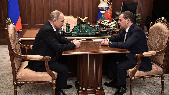 Russia's Prime Minister Dmitry Medvedev submits his resignation.
