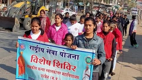 NSS camp participants take out awareness rally in village Chintaman Jawasia.