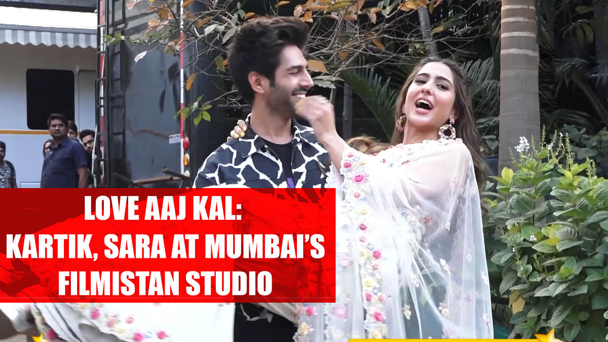 Love Aaj Kal: Kartik Aaryan, Sara Ali Khan at Mumbai's Filmistan Studio