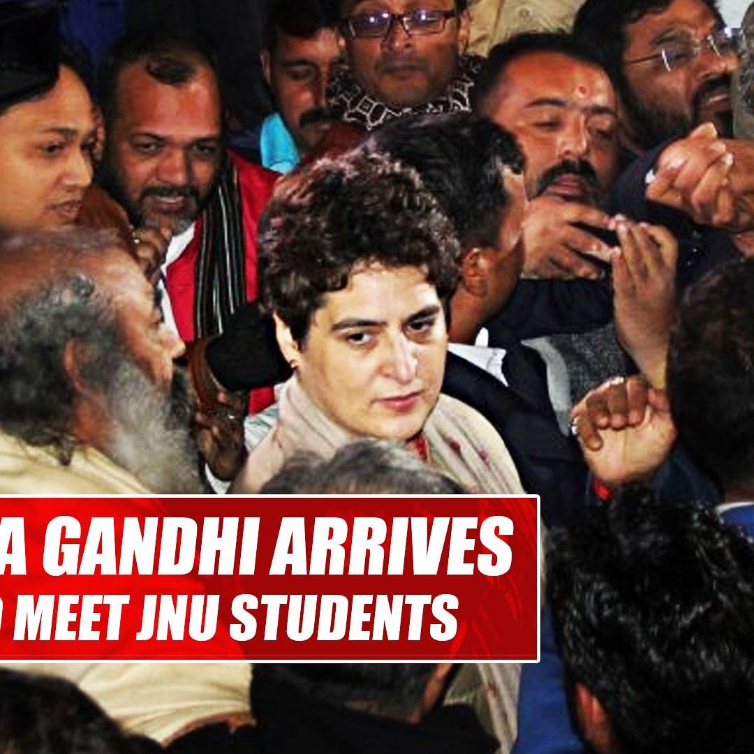 Priyanka Gandhi arrives at AIIMS to meet injured JNU students, professors