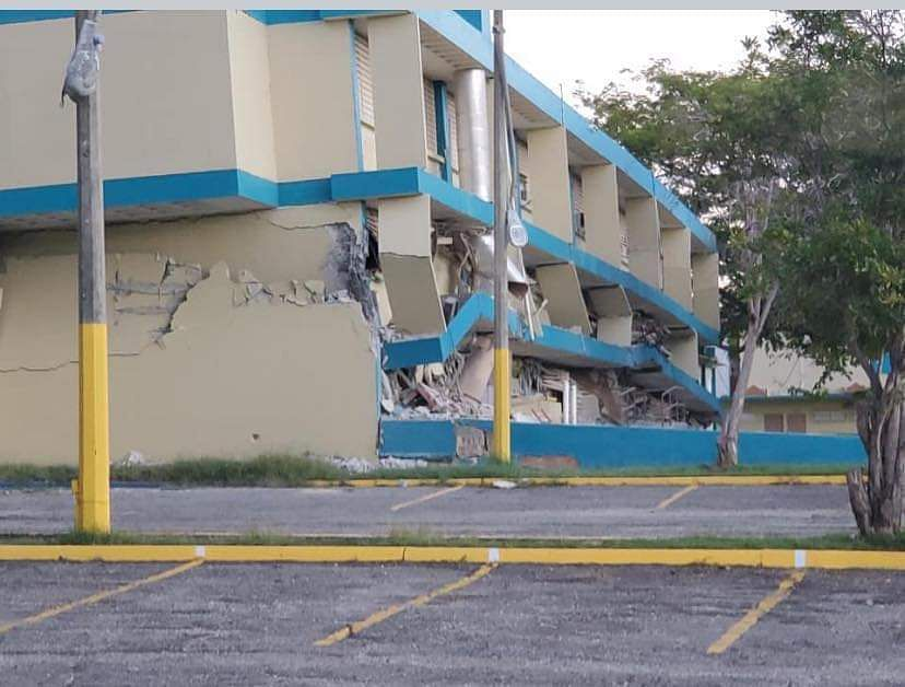 A school is seen being destroyed after an earthquaake hit the island in Guanica, Puerto Rico.