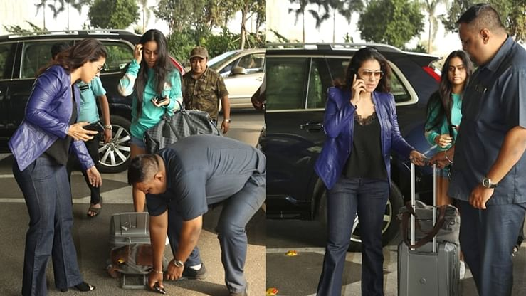 Watch video: Kajol struggles to keep calm after security guard drops her phone