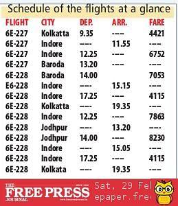 Indore: Flight to Jodhpur, Baroda from March 29