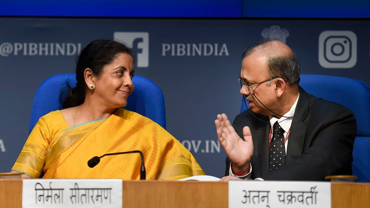 New Delhi: Union Finance Minister Nirmala Sitharaman with Economic Affairs Secretary Atanu Chakraborty (R) during the post-budget press conference