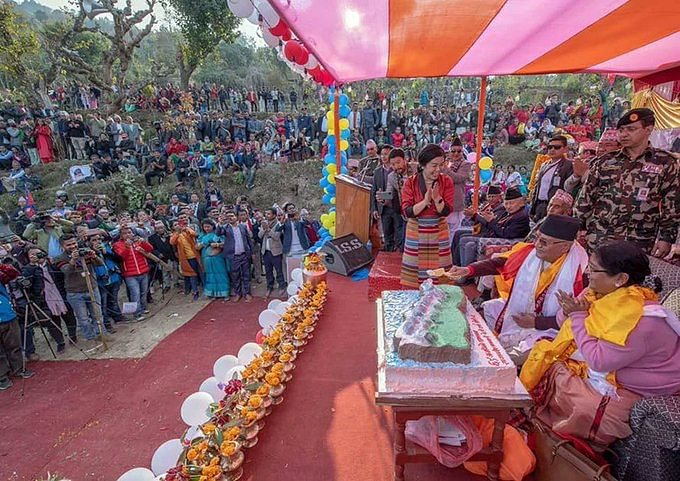PM Oli cuts cake with country's map on it, netizens lashes out at him