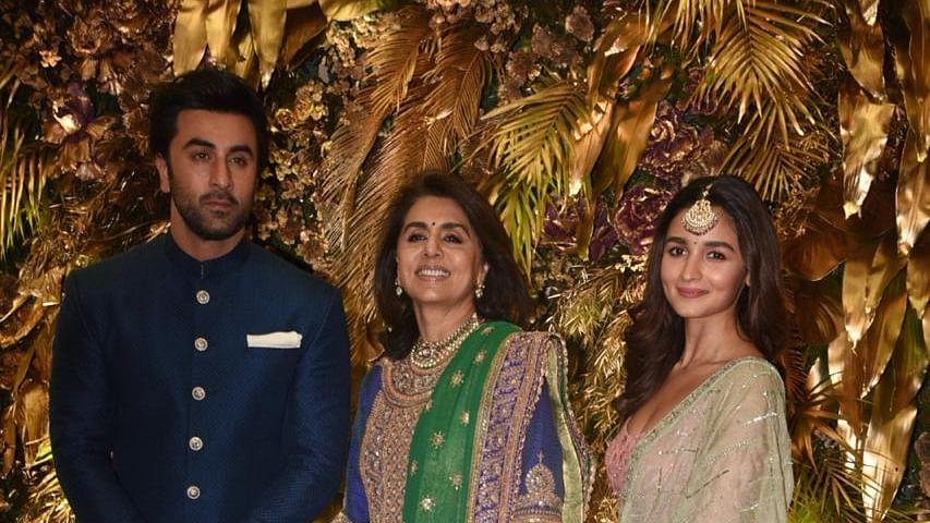Ranbir Kapoor with mother Neetu and girlfriend Alia Bhatt