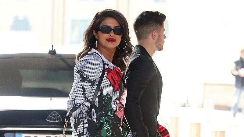 Priyanka Chopra steps out with Nick Jonas in a Rs 45K Moschino 'Dracula' shirt dress