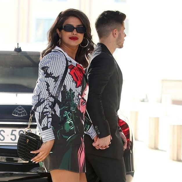 Priyanka Chopra steps out with Nick Jonas in a Rs 45K Moschino 'Dracula' shirt dress