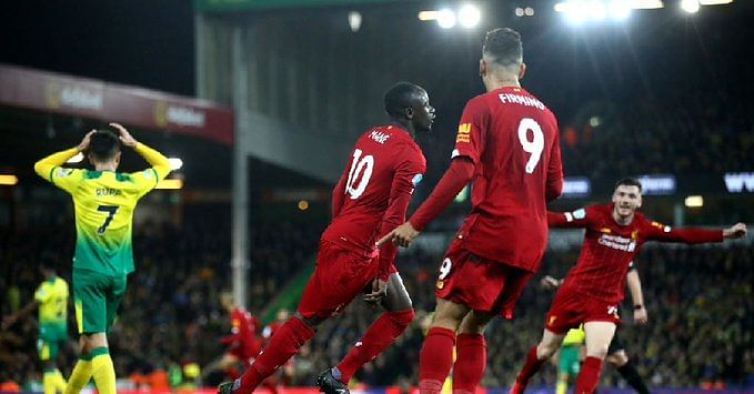 Sadio Mane strikes 100th Premier League goal as Liverpool beat Norwich to open up 25-point lead